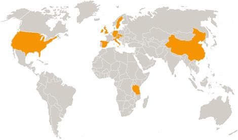 Weltkarte mit Einsatzländern von Eylers Perfgormance Consulting, Berlin - Change Management, Organisationsentwicklung, Teamentwicklung, Organisationsberatung, Führungskräfte-Training, Veränderungsmanagement, Systemische Organisationsberatung und -entwicklung